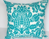 Decorative throw pillow cover turquoise teal and white cushion damask Amsterdam pillow sham