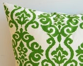 """Throw pillow cover emerald green and ivory 18"""" x 18"""""""