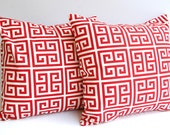 Throw pillow covers set of two brick red and natural  Greek Key pattern - FINAL SALE