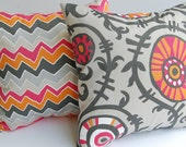 """Throw pillow covers 18"""" x 18"""" pair of two Seesaw and Suzani Vine orange gray tan raspberry red"""