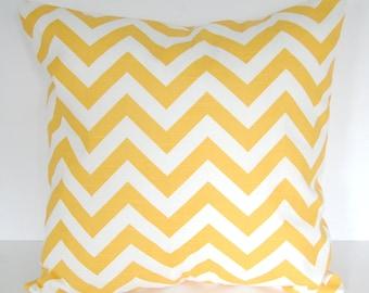Throw pillow cover one yellow chevron stripe cushion cover zig zag mustard corn yellow