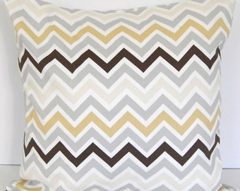 Decorative throw pillow cover chevron zig zag twill river rock gray brown tan white cushion cover pillow sham