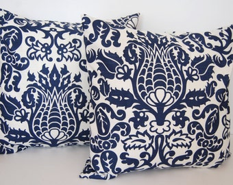 Throw pillow covers pair navy blue and white Amsterdam cushion covers pillow shams