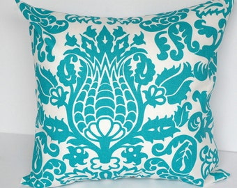 "Throw pillows PAIR of TWO 20"" x 20"" turquoise damask Amsterdam pillow covers"