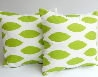 Throw pillow covers set of two decorative cushion covers pillow shams chartreuse lime green Chipper