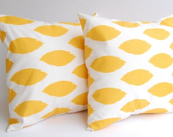 Throw pillow covers set of two corn mustard yellow Chipper Ikat cushion covers pillow shams