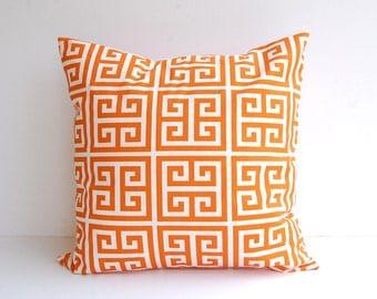 """Orange throw pillow cover one 22"""" x 22"""" orange Greek Key print"""