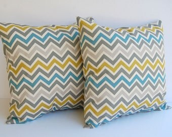 Throw Pillows, Pillow Shams, Cushion Covers, Home Decor, Chevron Zig Zag Blue Gray Olive Summerland Zoom Zoom