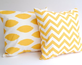 Decorative pillow covers set of two mustard corn yellow chevron and chipper