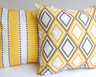 Decorative pillow covers set of two yellow and taupe diamonds and stripes throw pillows cushion covers