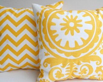 Yellow chevron throw pillow covers set of two sunny corn yellow and white zig zag chevron stripe and Suzani mustard cushion covers