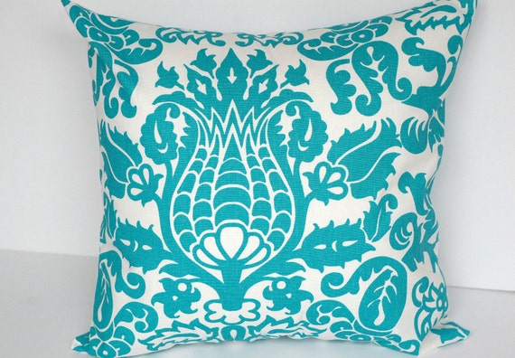 Decorative Throw Pillow Cover turquoise and white damask Cushion Cover Pillow Sham