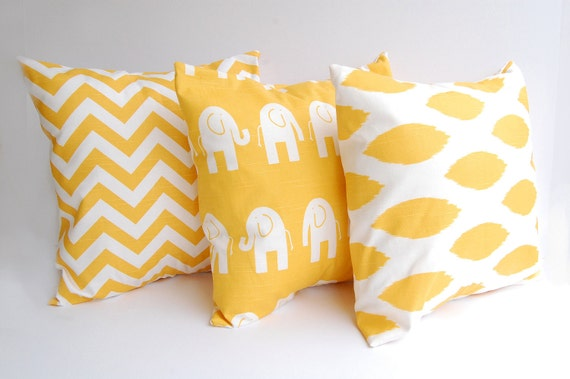 Etsy Yellow Throw Pillow : Items similar to Decorative throw pillow covers yellow set of three accent pillow shams in corn ...
