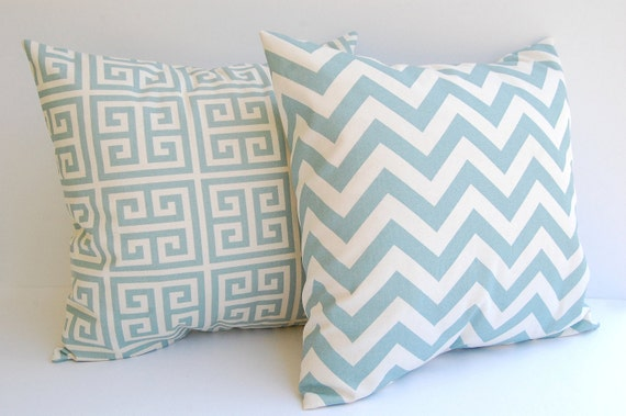 Throw pillow covers, Cushion Covers, Pillow Shams Greek Key and chevron - pale smokey blue and natural