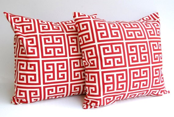 Throw pillow covers set of two brick red and natural  20 x 20 Greek Key pattern