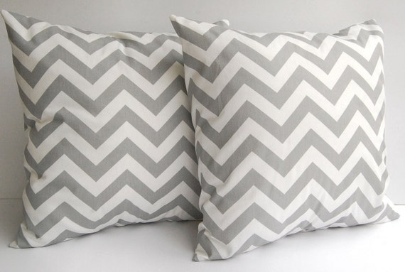 Grey pillow covers set of two Storm Gray Chevron zig zag throw cushion covers