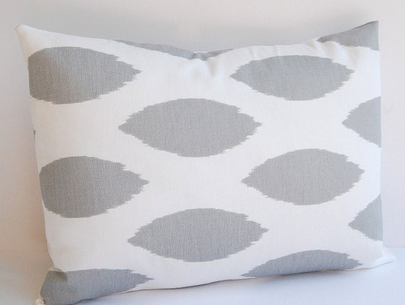 """Lumbar pillow cover 12"""" x 16"""" storm gray and white chipper ikat"""