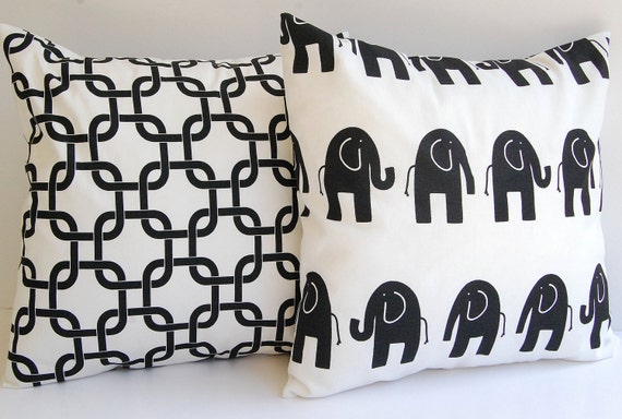 Black and white throw pillow cushion covers set by ThePillowPeople