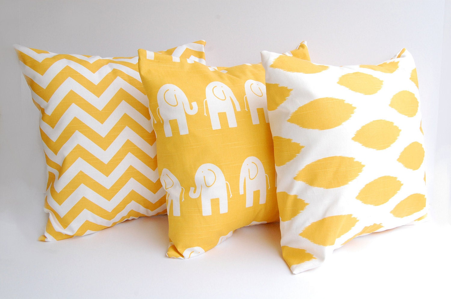 Throw Pillow Yellow : Throw pillows yellow set of three 18 x 18 by ThePillowPeople