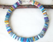 Tribal Necklace - Paper Bead Jewelry - Colorful Summer Festival Necklace