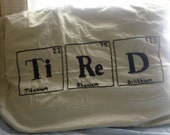 Hand Embroidered Periodic Element Tired Pillow Case Mint Green