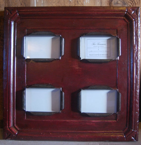 Antique tin burgandy 5 x 7 multi-picture frame