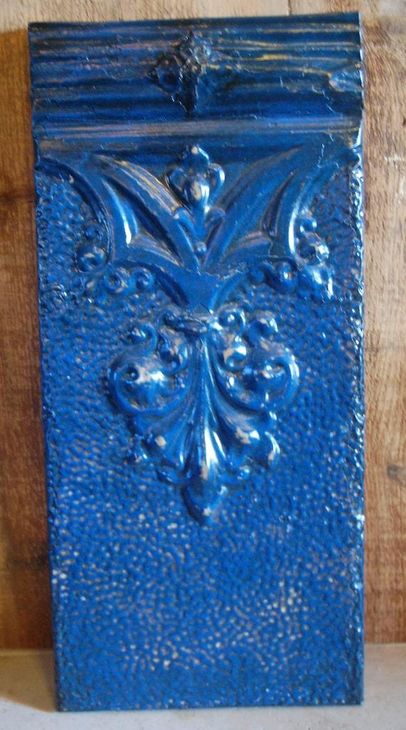 Blue fleur de lis antique tin ceiling tile
