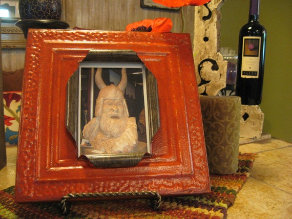 Custom order for Melanie Chambers (2) 5 x 7 antique pumpkin orange ceiling tile picture frames