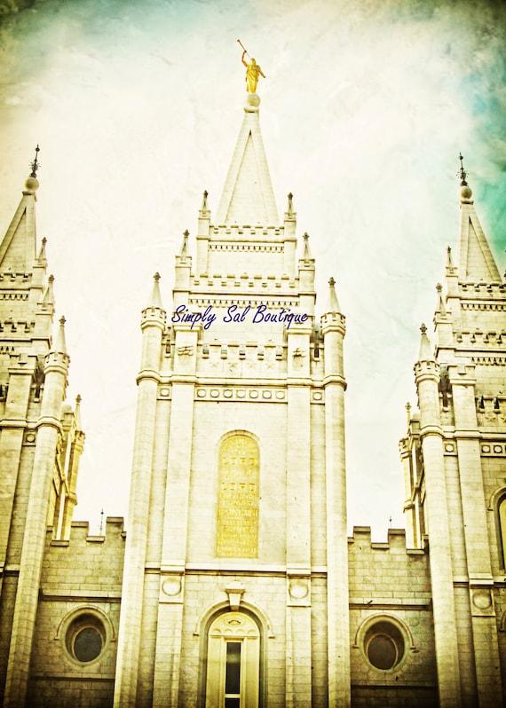Salt Lake City Temple Antiqued 5x7 Print