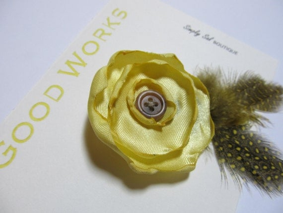 Hair Flower Clip with Feathers: LDS Young Women Value -- Good Works