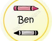 "Name Crayon Stickers - Sheet of 20 - 2"" round"