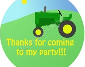 """Tractor Stickers - Sheet of 20 - 2"""" Round.  Tractor Birthday Party Favors"""