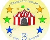 "Circus Tent Birthday Stickers - Sheet of 20 - 2"" round"