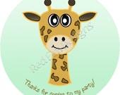 "Giraffe Stickers - Sheet of 20 - 2"" round"