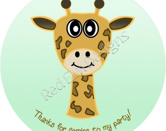 "Giraffe Stickers - Sheet of 20 - 2"" round.  Giraffe Zoo Birthday Party Favors.  2 Inch Round Giraffe Stickers"