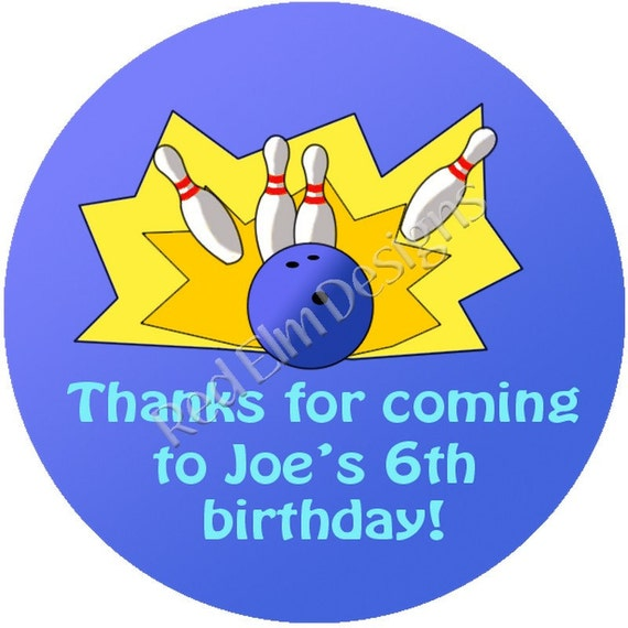"""Bowling (blue) Birthday Stickers - Sheet of 20 - 2"""" round.  Bowling Birthday Party Favors.  2 Inch Round Bowling Stickers"""