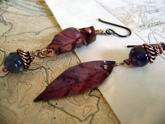 Cascading Leaves metalwork earrings by Anvil Artifacts
