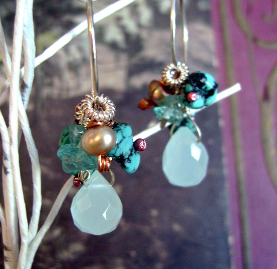 Apetite, amazonite, turquoise, freshwater pearls and sterling earrings by Anvil Artifacts