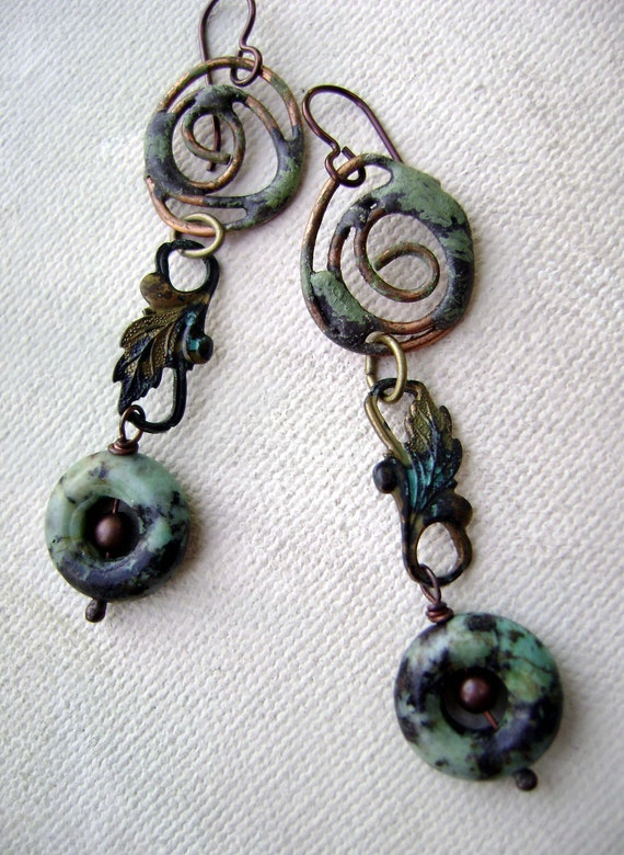 Shades of Verdigris earrings by Anvil Artifacts