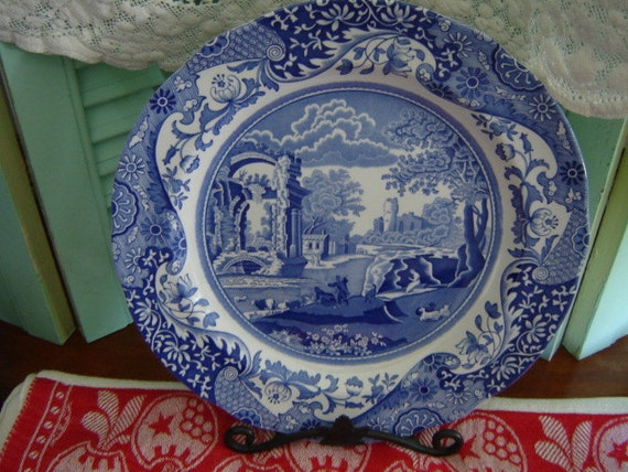 Spode Italian Blue White Dinner Plates Collectibles Shabby Chic Farmhouse Chic
