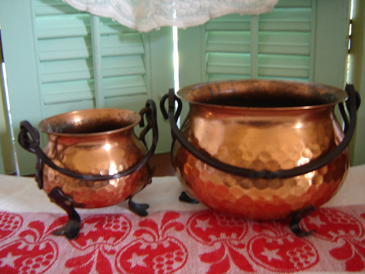 Vintage Hammered Copper Pots