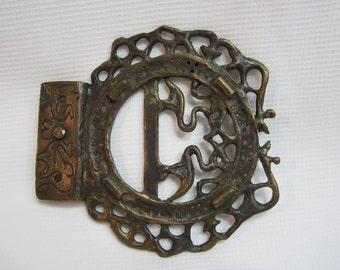 Vintage Cast metal buckle with Storks and filigree work