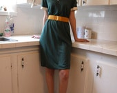 Vintage 1950's green v-neck dress M