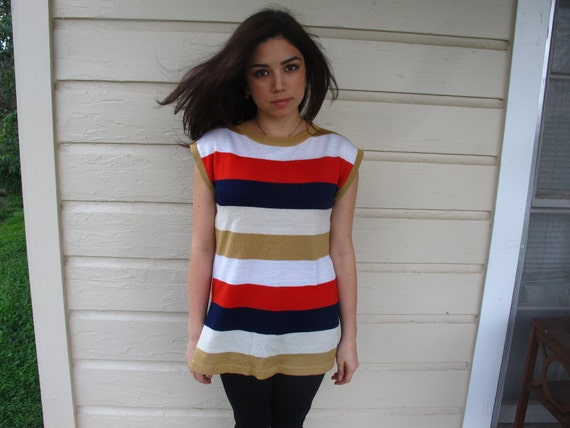 Vintage 1970s striped tunic S