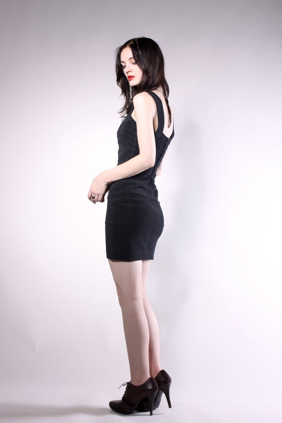 Vintage 1980s Black Tadashi Mini Dress. SIZE XS/S
