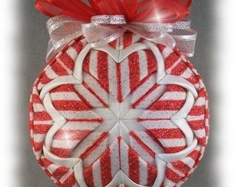Peppermint Sparkle Quilted Ornament - Peppermint Striped Glitter Unique Handmade Keepsake Ornament