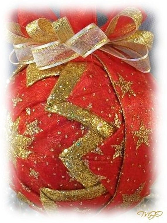 Stardust Red and Gold Glitter Unique Handmade Keepsake Quilted Christmas Ornament