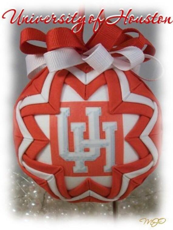 Christmas Ornament University of Houston Unique Handmade Keepsake Quilted Ornament