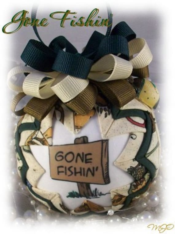 Quilted Ornament - Gone Fishin' Unique Handmade Quilted Christmas Ornament