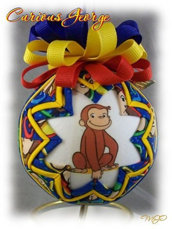 Quilted Ornament - Curious George Children's Unique Handmade Quilted Keepsake Ornament
